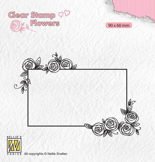 Clear Stamps Flowers Rectangle Frame With Roses