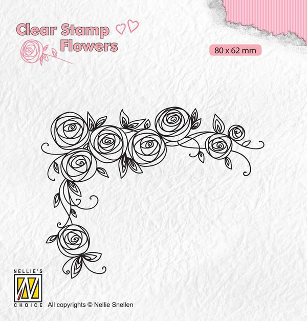 Clear Stamps Flowers Roses Corner