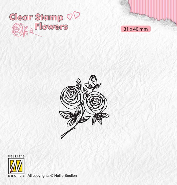 Clear Stamp Flowers Rose Twig