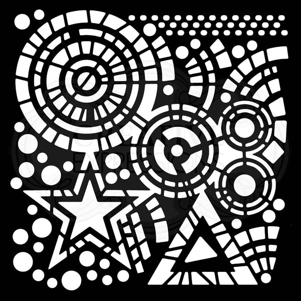 Woodware Stars & Circles 6 in x 6 in Stencil