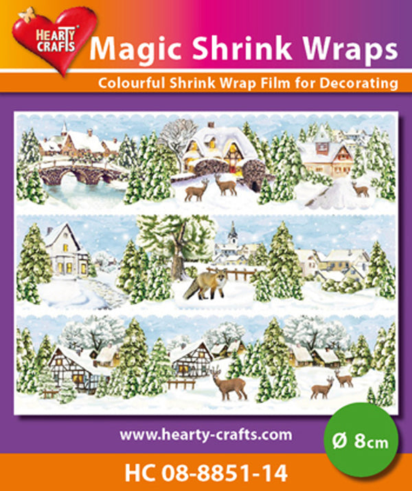 Hearty Crafts Magic Shrink Wraps. Winter Village  (8cm)