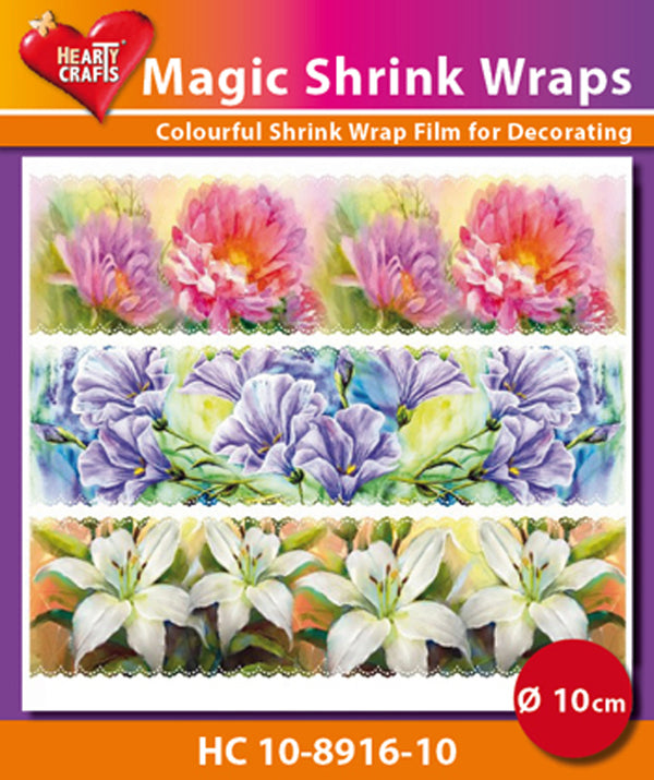Hearty Crafts Magic Shrink Wraps. Painted Flowers (10cm)