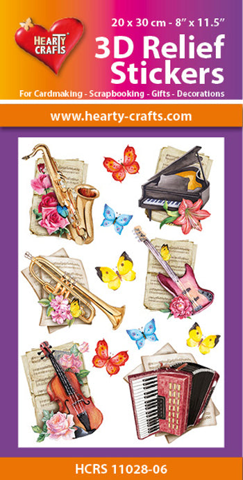 Hearty Crafts 3D Relief Stickers - Musical Instruments A4