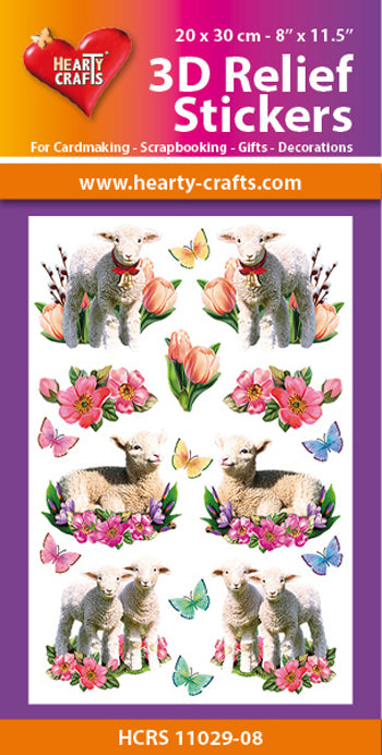 Hearty Crafts 3D Relief Stickers A4 - Lambs