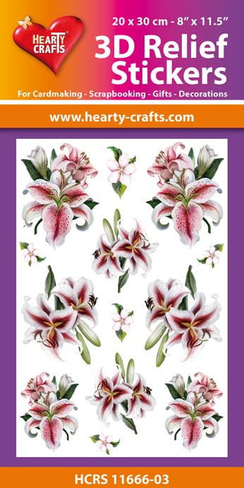 3D Relief Stickers A4 - Lillies 3