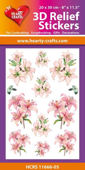 3D Relief Stickers A4 - Lillies 5