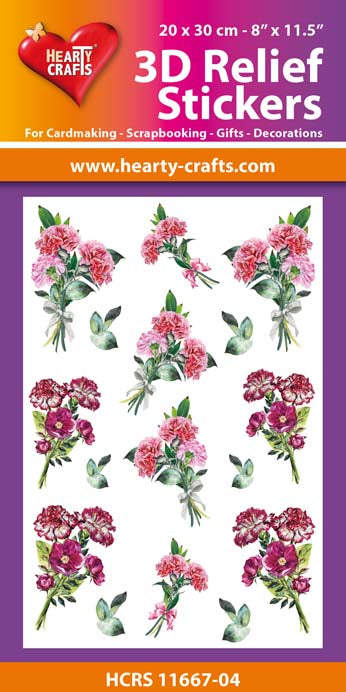 3D Relief Stickers A4 - Bouquets of Carnations 4