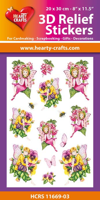 3D Relief Stickers A4 - Garden Fairies 3