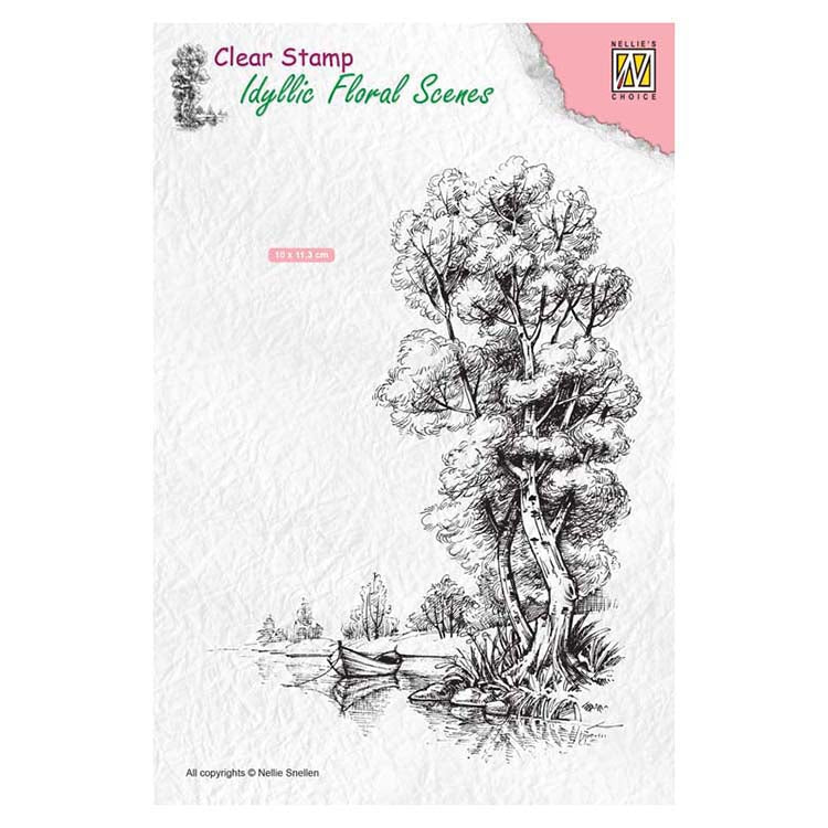 Nellie's Choice Clear Stamp Idyllic Floral Scenes - Tree with Boat
