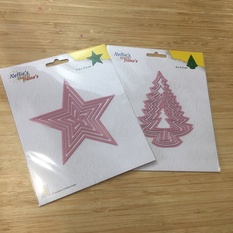 Pin It Nellie's Choice Nested Die Duo - Tree and Star - 10 Dies Total