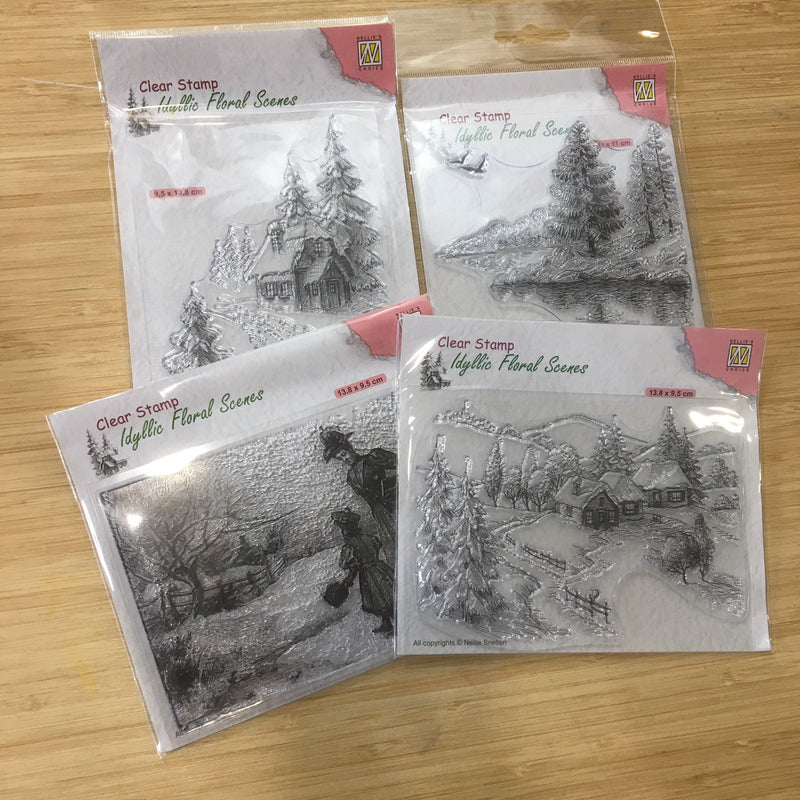 Pin It A Country Winter Clear Stamp Collection - 4 Stamps Total