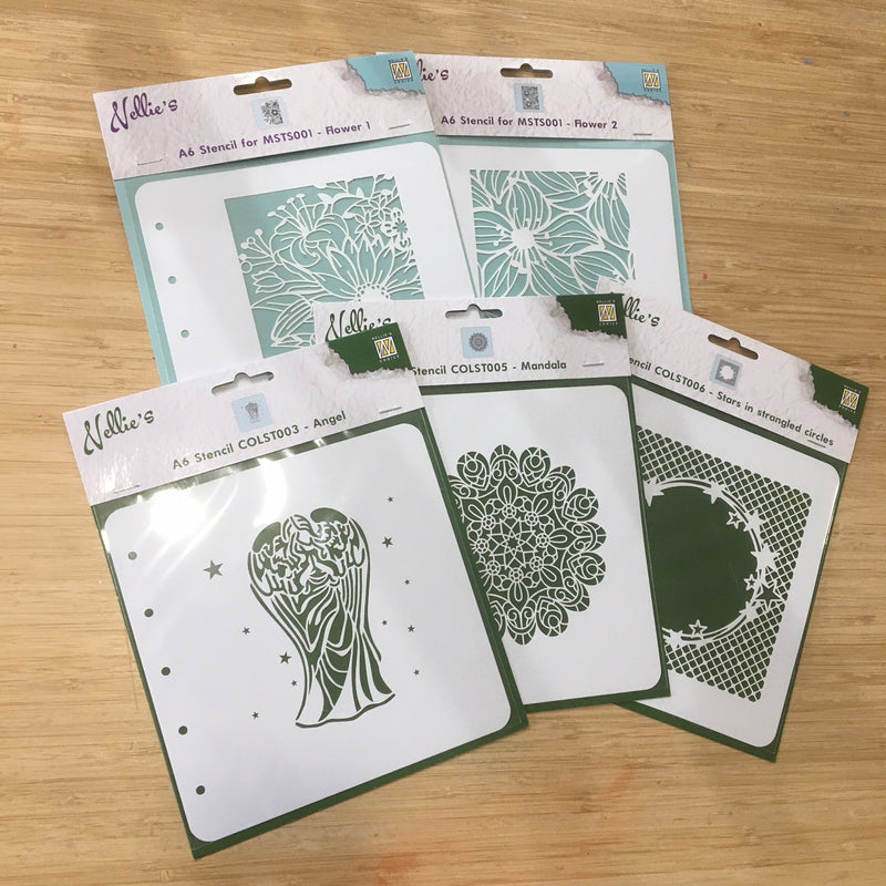Pin It 5 x Stencils - Summer Flower, Spring Flower, Angel, Mandala