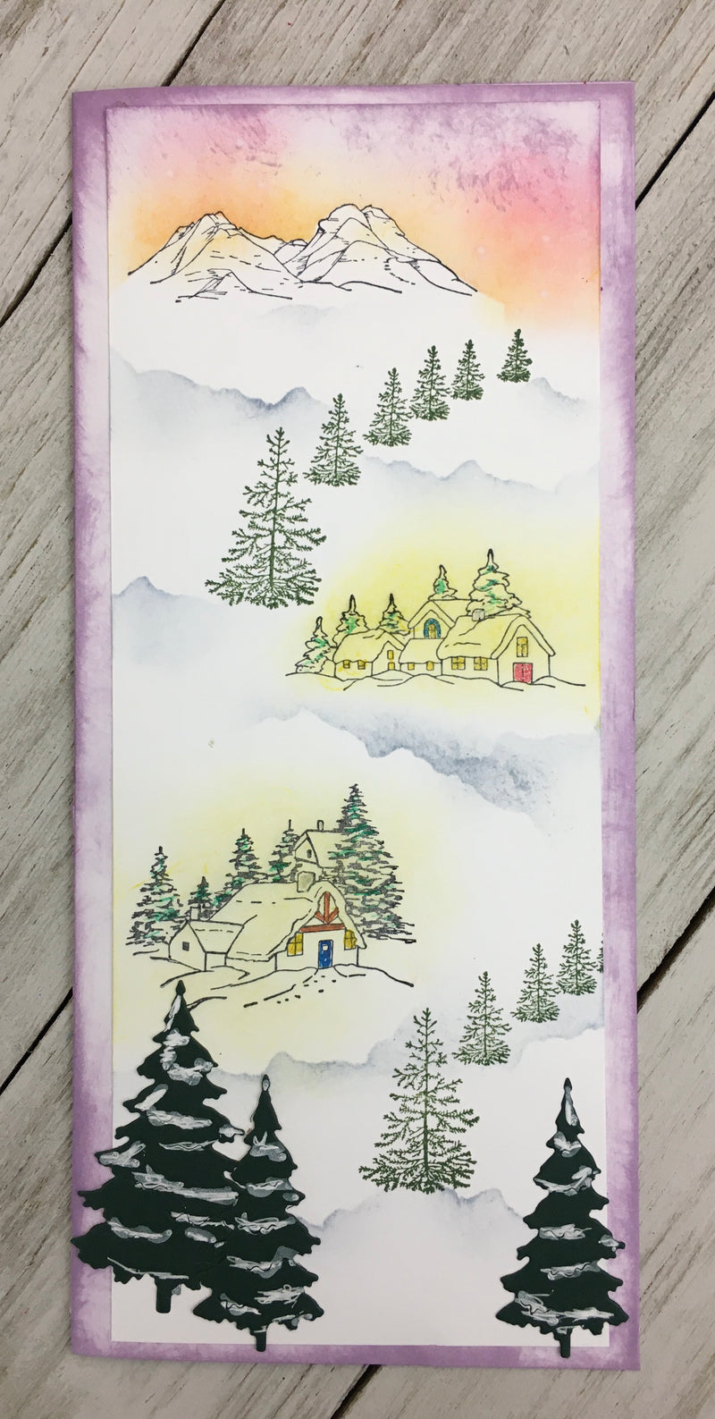 Winter Village Mini Rubber Cling Stamp
