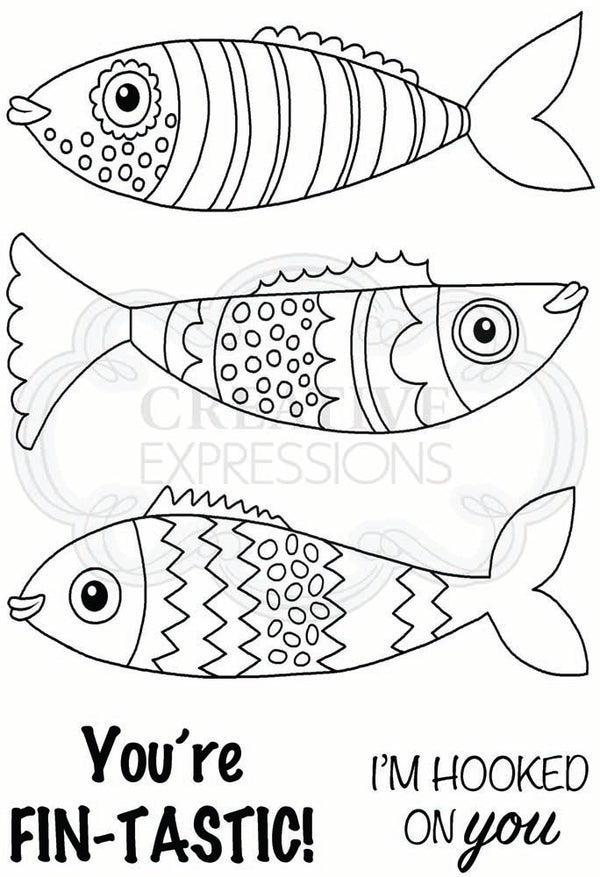 Woodware Clear Singles Swimming Fish 4 in x 6 in Stamp