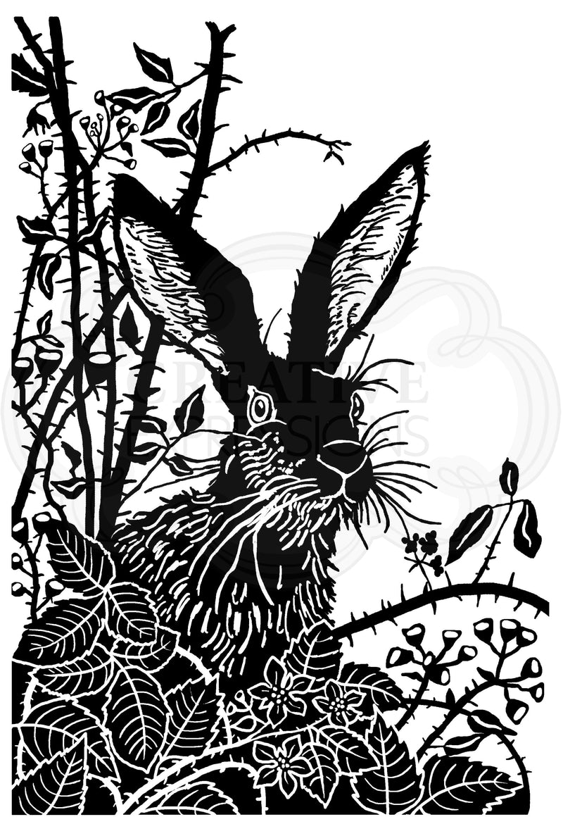 Woodware Clear Singles Lino Cut - Hare in the Brambles 4 in x 6 in Stamp