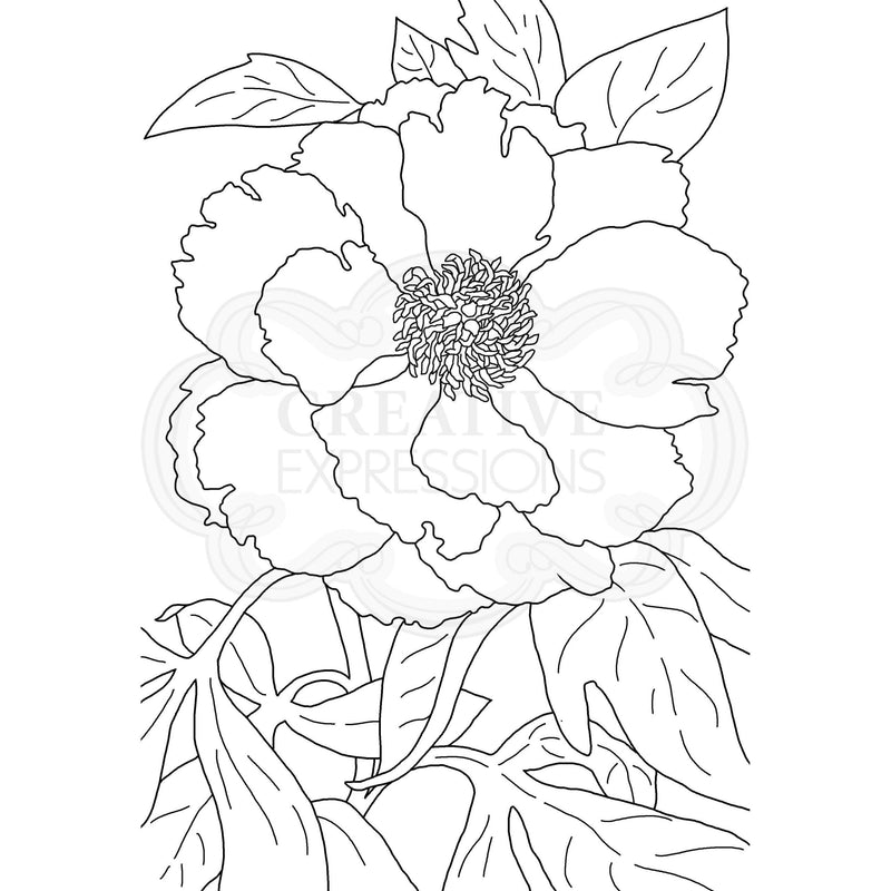 Woodware Clear Singles Peony 4 in x 6 in Stamp