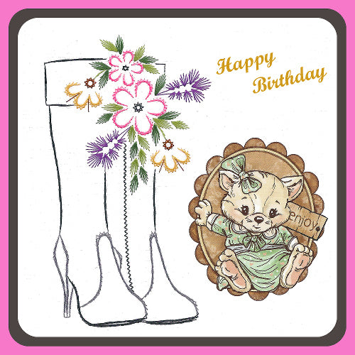 KC Embroidery Pattern - High Boots and Flower Spray