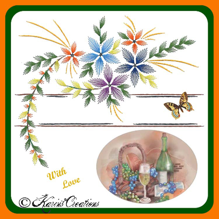 KC Embroidery Pattern - Floral Spray