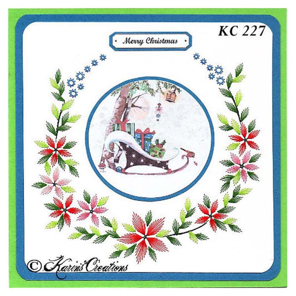 KC Embroidery Pattern - Poinsettia Wreath