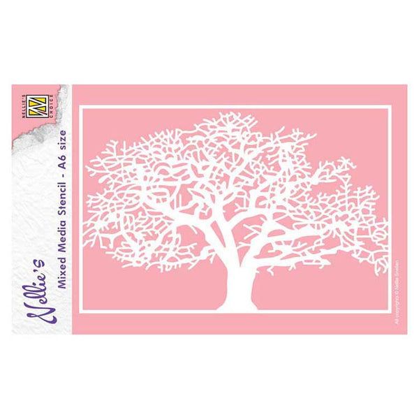 Nellie's Choice A6 Mixed Media Stencil Tree