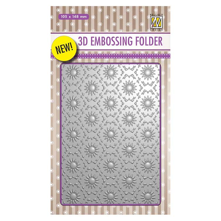 Nellie's Choice 4 x 6  3D Embossing Folder Background Flowers 1