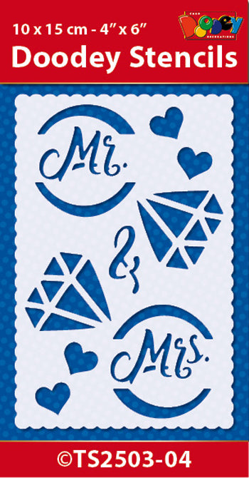 Stencil 10x15 cm Mr. & Mrs.