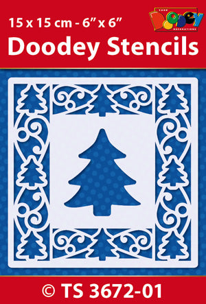 Stencil 15x15 cm Background Christmas Tree