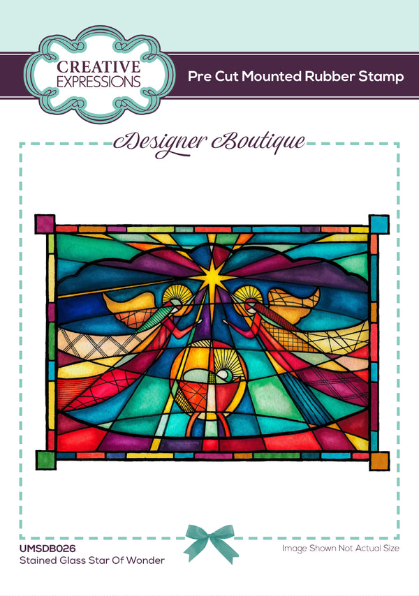 Designer Boutique Collection Stained Glass Star of Wonder 6 x 4 in  Pre Cut Rubber Stamp