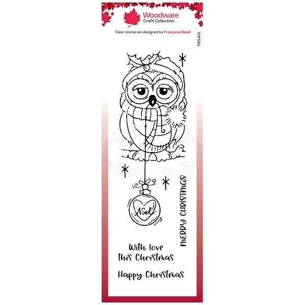 Woodware Clear Singles Bauble Owl 4 in x 6 in Stamp