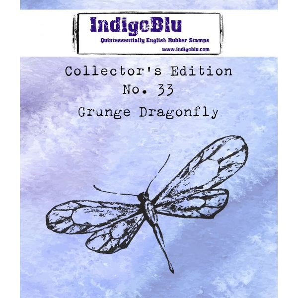 Collectors Edition #33 Grunge Dragonfly Red Rubber Stamp