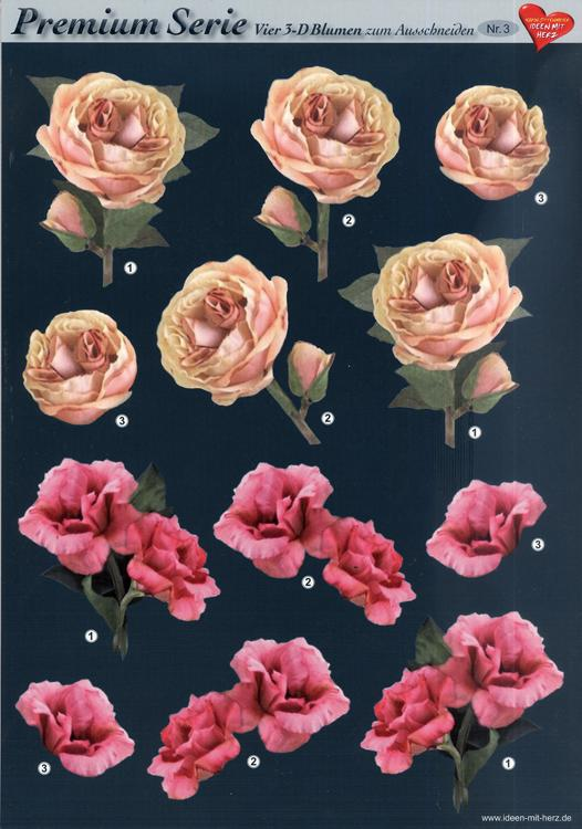 3D Premiumserie, 6 pcs Flowers 03 Cutting Sheets