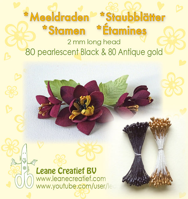 Stamen 2mm, 80 Pearl Black & 80 Antique Gold