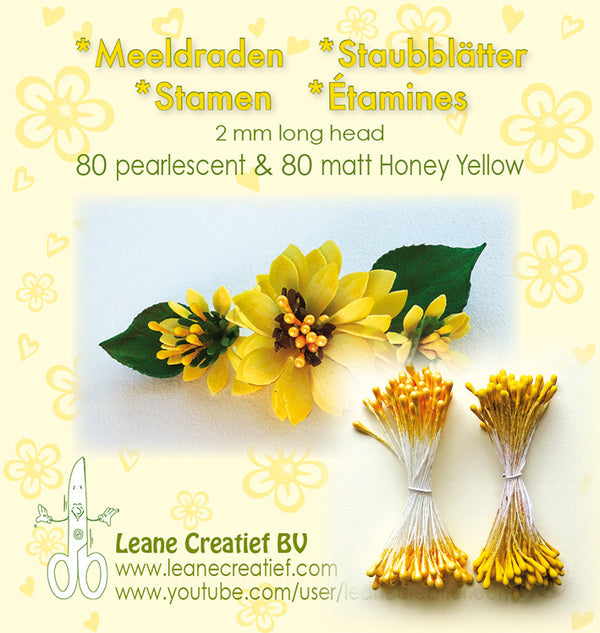 Stamen 2mm, 80 Matte & 80 Pearl Honey Yellow