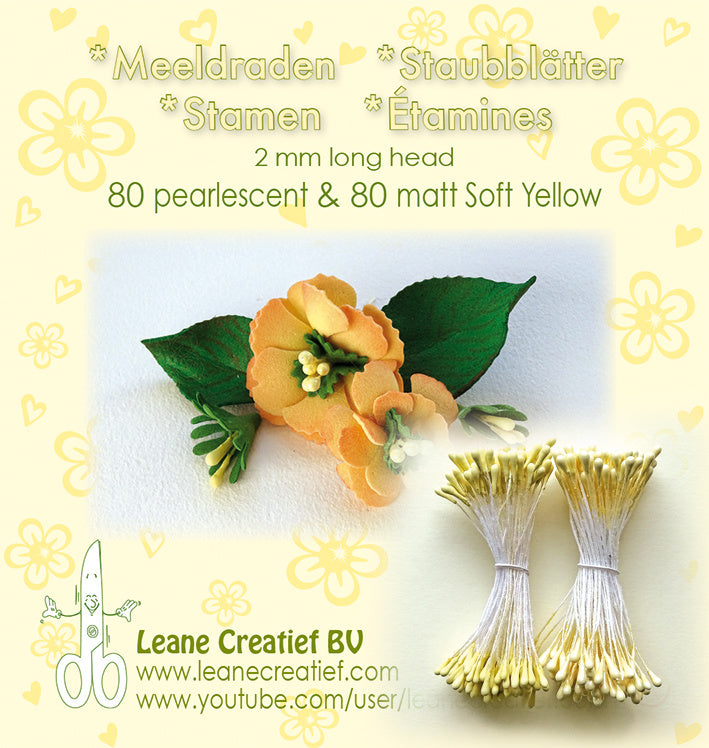 Stamen 2mm, 80 Matte & 80 Pearl Soft Yellow