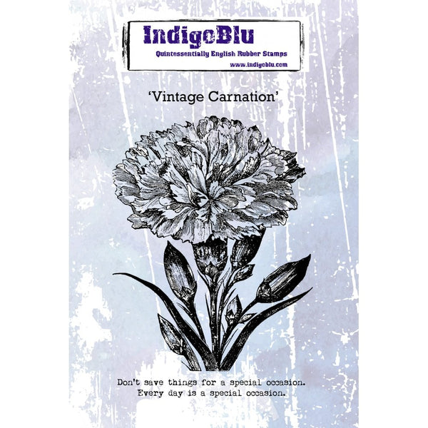 Vintage Carnation A6 Red Rubber Stamp