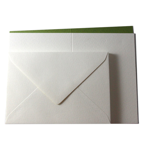 Romak 12 Card & Envelope Pack - Green/White