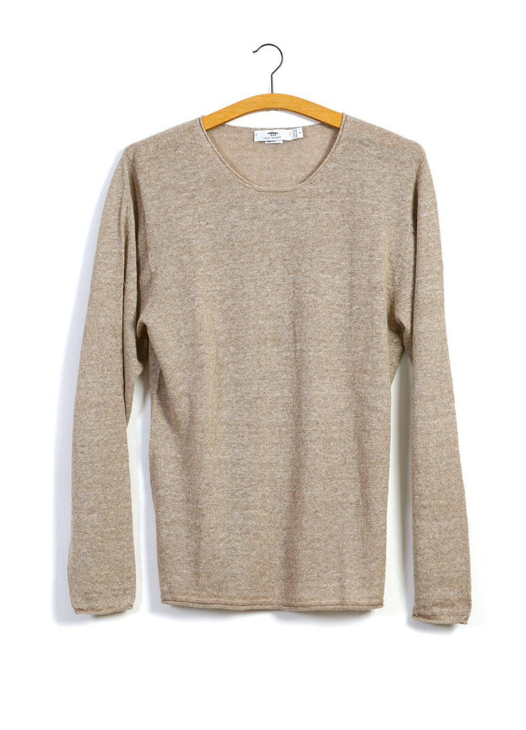 12G ROLL TRIM | Crew Neck Knit | Beige | €230 -Inis Meáin- HANSEN Garments