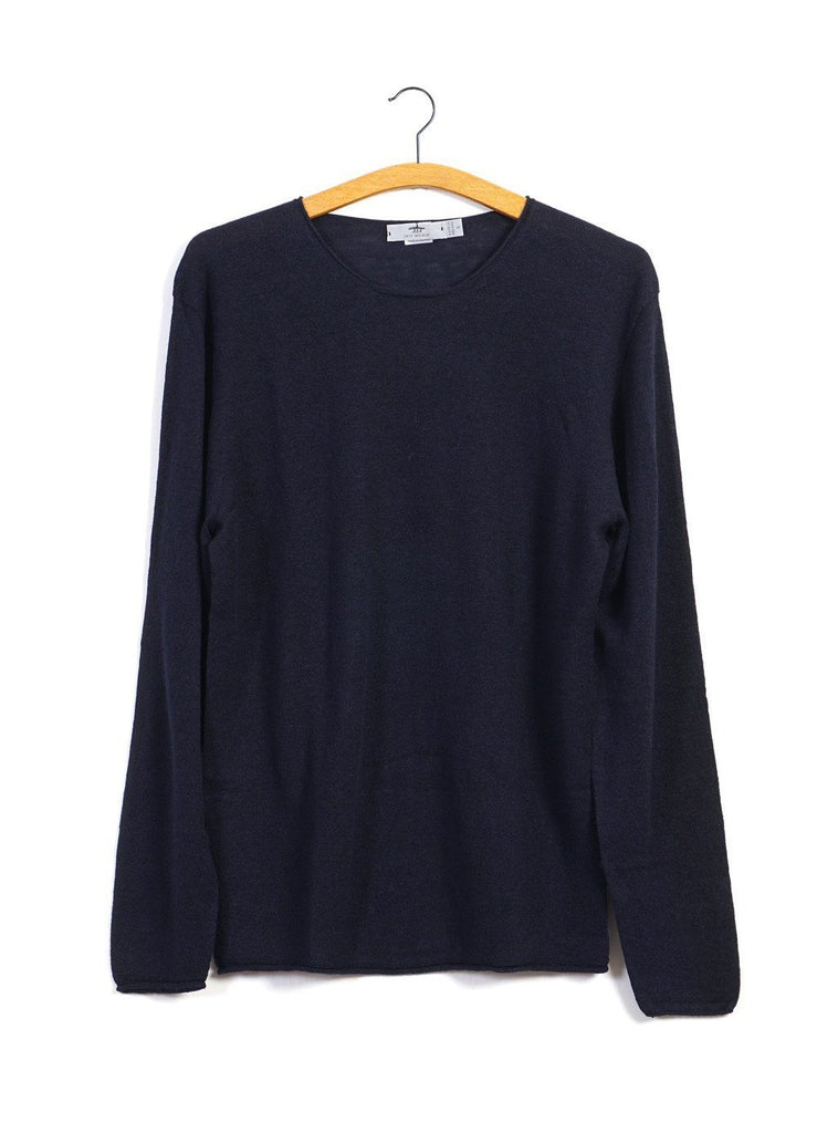 12G ROLL TRIM | Crew Neck Knit | Navy | €230 -Inis Meáin- HANSEN Garments