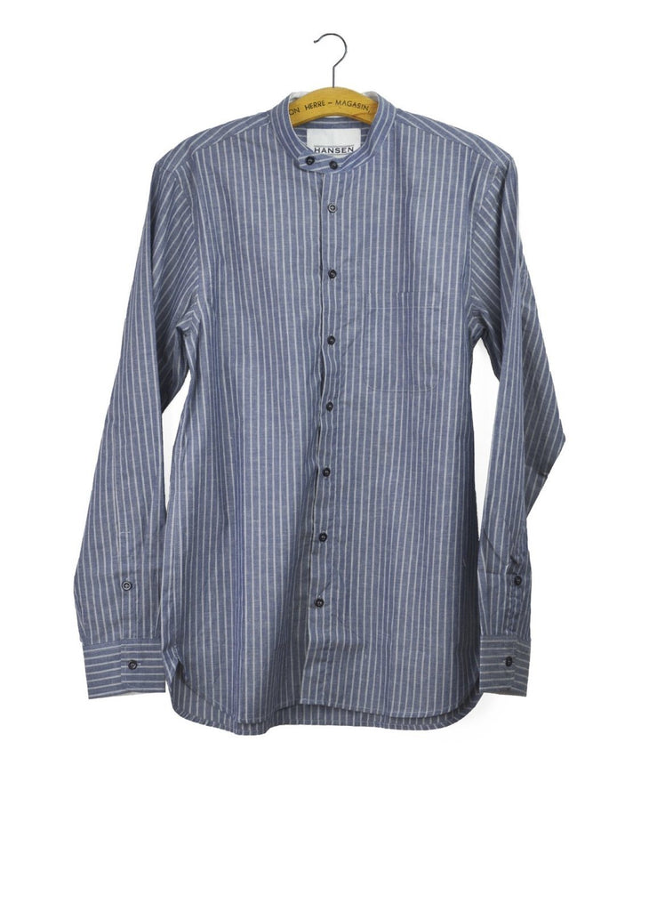 ALBERT | Casual Collarless Shirt | Stripe blue | €200 -HANSEN Garments- HANSEN Garments
