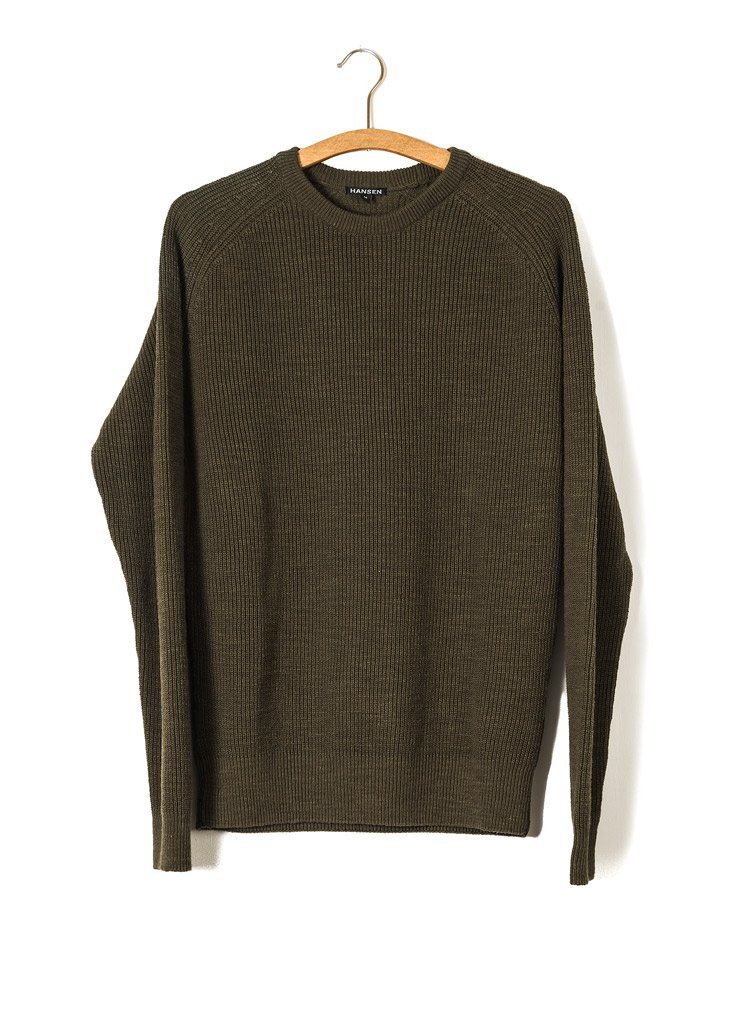 ALFRED | Knitted Basic Crewneck | Army | €175 -HANSEN Garments- HANSEN Garments