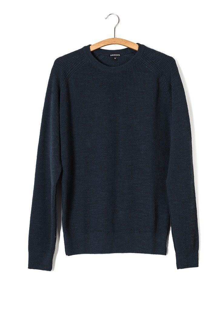 ALFRED | Knitted Basic Crewneck | Blue | €175 -HANSEN Garments- HANSEN Garments
