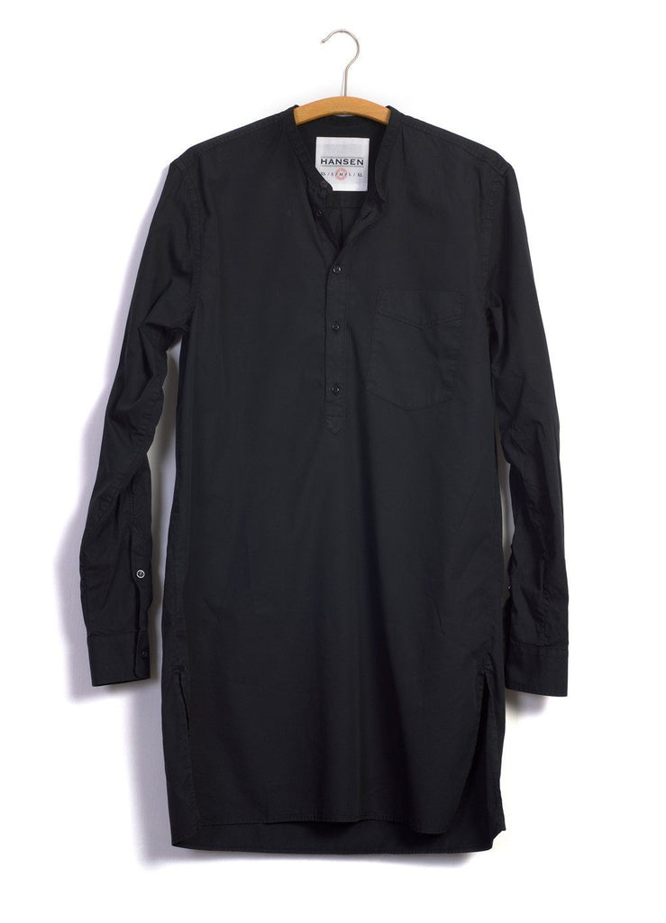 ARILD | Collarless Pull-on shirt | Black | €175 -HANSEN Garments- HANSEN Garments