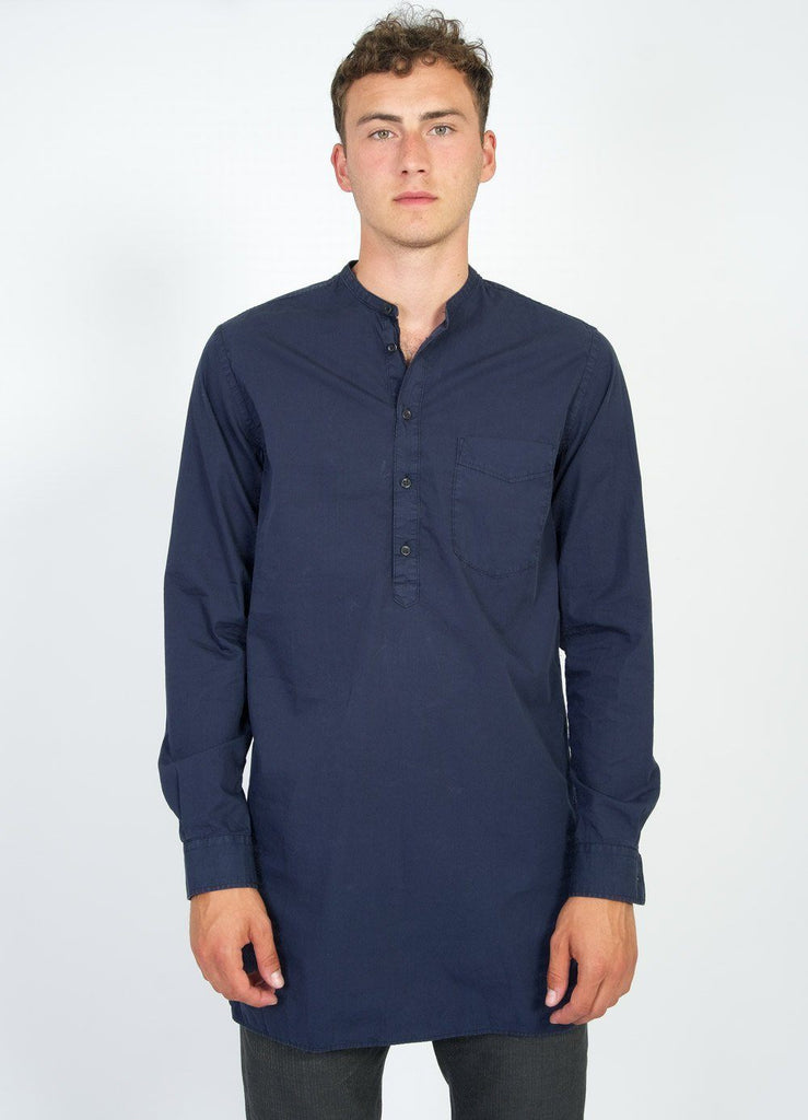 ARILD | Collarless Pull-on shirt | Sea | €175 -HANSEN Garments- HANSEN Garments