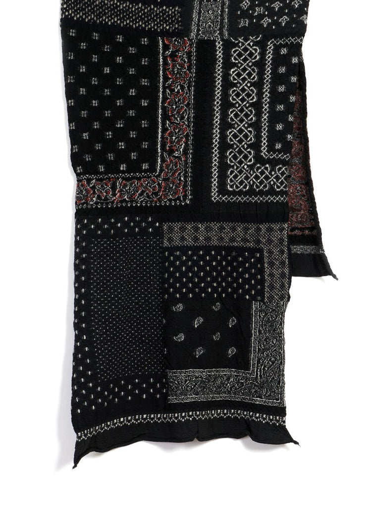 Kapital - Bandana Patchwork | Compressed Wool Scarf | Black - HANSEN Garments