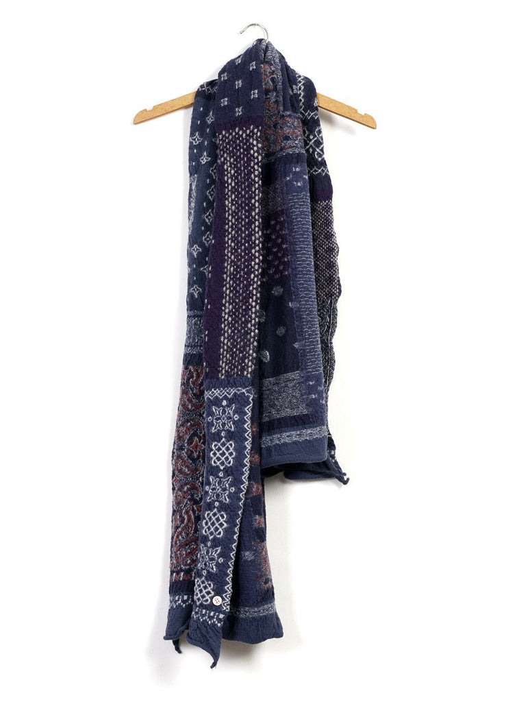 BANDANA PATCHWORK | Compressed Wool Scarf | Navy | €260 -Kapital- HANSEN Garments