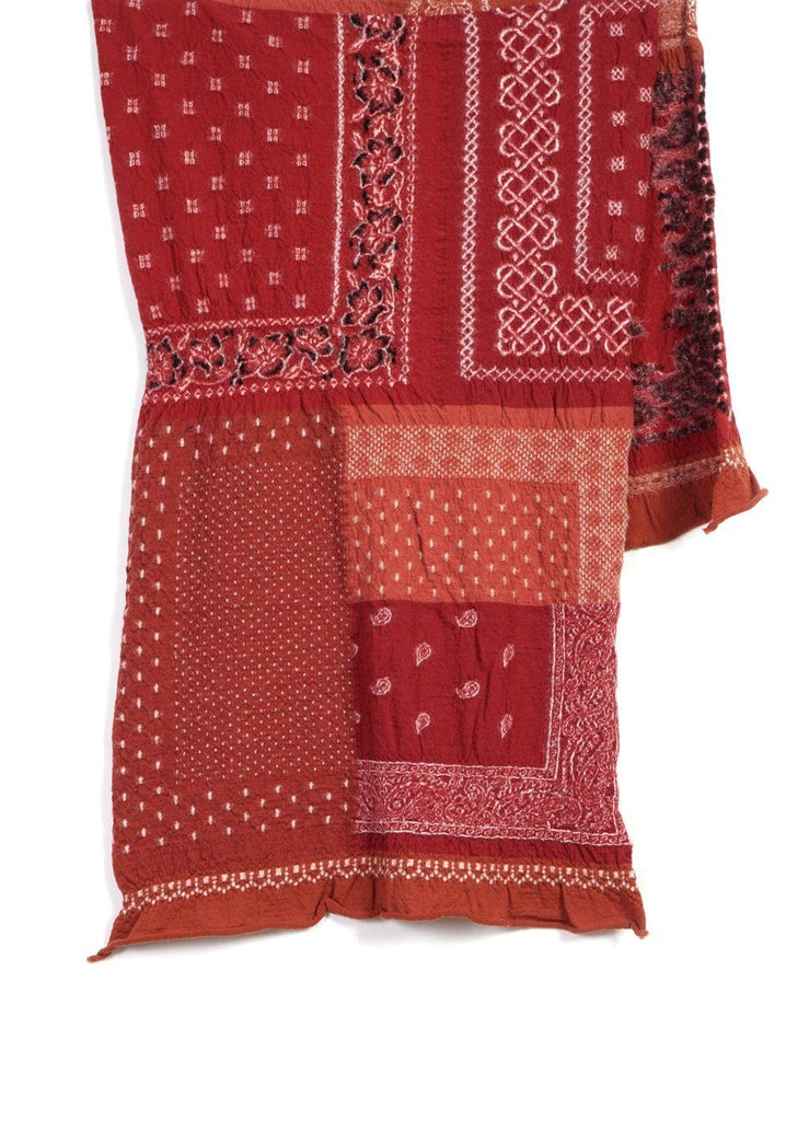 BANDANA PATCHWORK | Compressed Wool Scarf | Red | €260 -Kapital- HANSEN Garments
