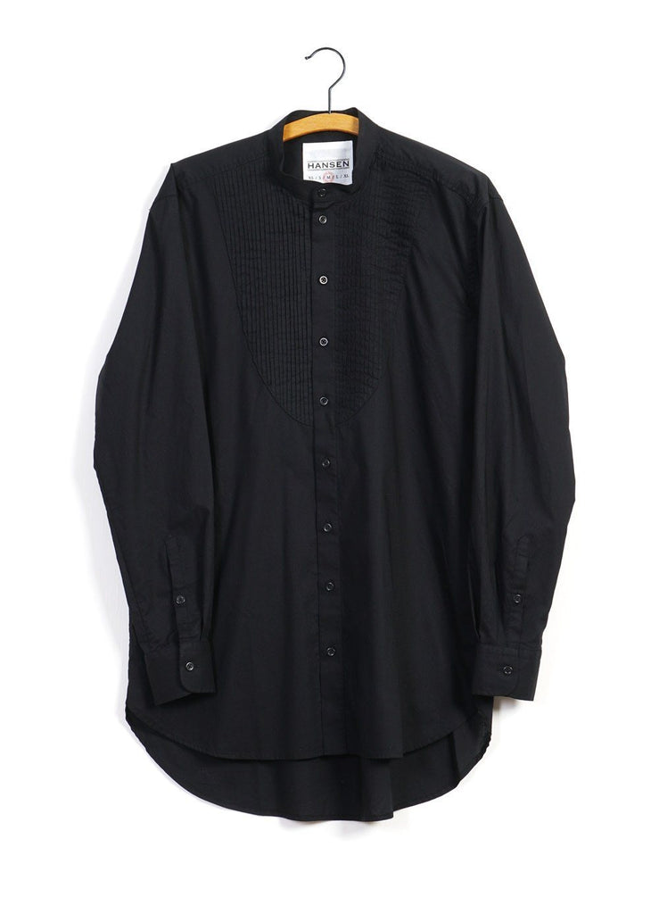 BASSE | Pleated Bib Shirt | Black -HANSEN Garments- HANSEN Garments