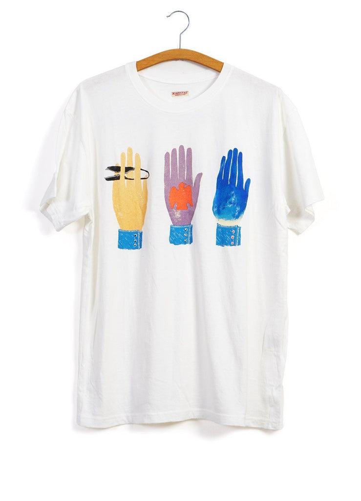 CCK HANDS | Short Sleeve T | White | €135 -Kapital- HANSEN Garments