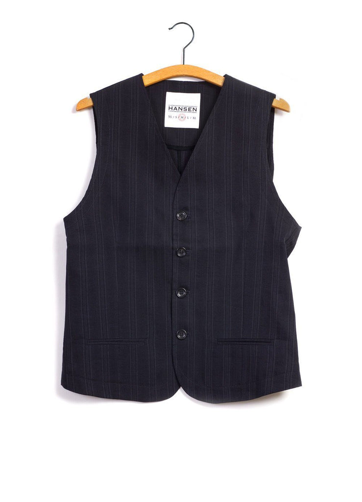 DANIEL | 4-Button Waistcoat | Black Stripe | €255 -HANSEN Garments- HANSEN Garments