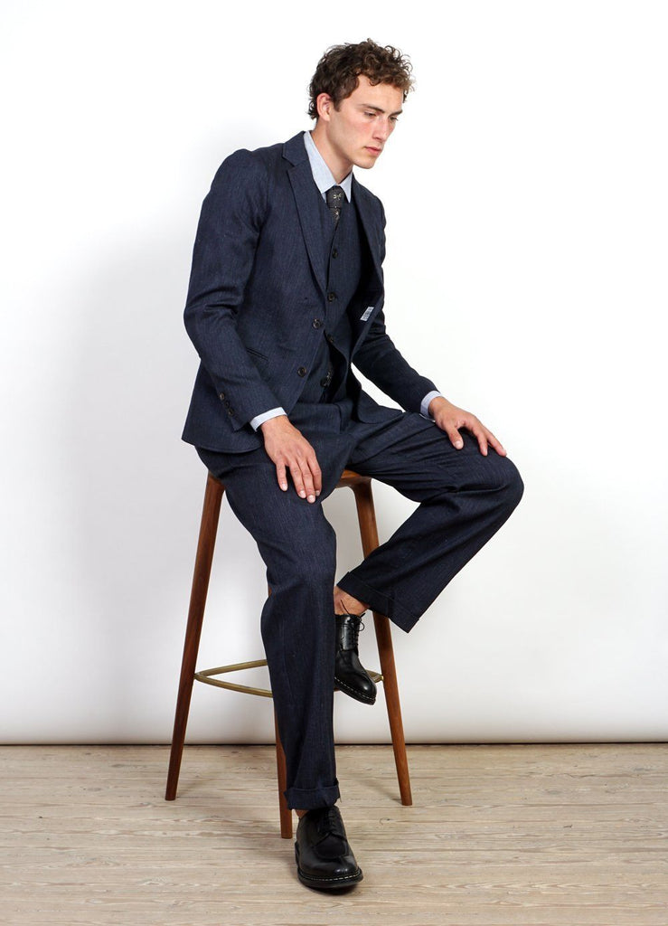 DANIEL | Four Button Waistcoat | Navy Melange -HANSEN Garments- HANSEN Garments